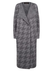 Jaeger Wool Houndstooth Coat Charcoal