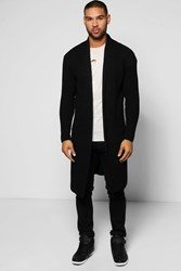 Boohoo Festival Cardigan In Fisherman Knit Black