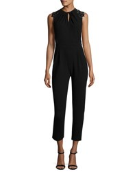 Rebecca Taylor Crepe Sleeveless Lace Back Jumpsuit Black