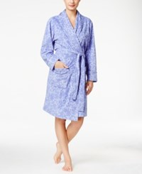 Charter Club Printed Short Robe Only At Macy's Purple Scroll