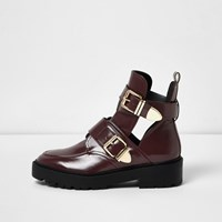 River Island Womens Dark Red Cut Out Buckle Boots