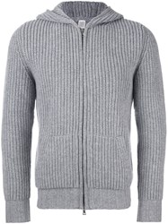 Eleventy Zipped Ribbed Hoodie Grey