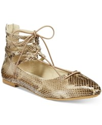 Rialto Sondra Lace Up Flats Women's Shoes Taupe Snake