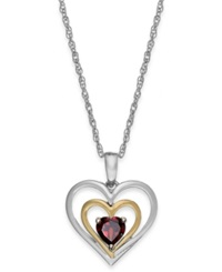 Macy's Garnet Heart Pendant Necklace In 14K Gold And Sterling Silver 5 8 Ct. T.W.
