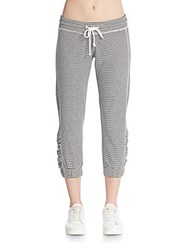 Saks Fifth Avenue Striped Cropped Jogger Pants Grey