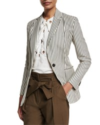 3.1 Phillip Lim Striped Single Button Blazer Navy Ivory Men's Size 8 Navy Ivory