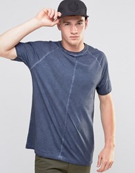 Asos Longline Raglan T Shirt With Pigment Dye And Wide Neck Trim In Grey Ombre Blue