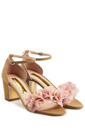 Rupert Sanderson Petal Embellished Suede Sandals Brown