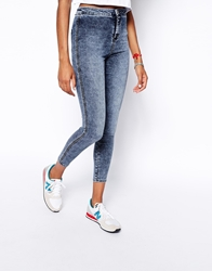 Asos Rivington High Waist Denim Ankle Grazer Jeggings In Lion Acid Wash. Bleachblue