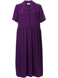 Carven V Neck Shirt Dress Pink Purple
