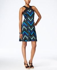 Ny Collection Petite Printed A Line Halter Dress Teal Deviation