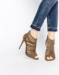 New Look Peep Toe Strappy Heeled Shoes Green