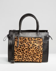 Urbancode Leather Tote Bag With Leopard Front Pocket Black Leopard
