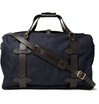 Filson Leather Trimmed Twill Duffle Bag Blue