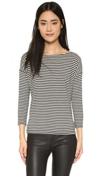 Atm Anthony Thomas Melillo Boatneck Tee Black White Stripe