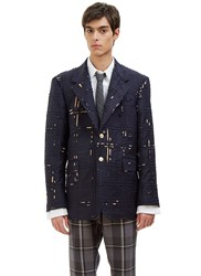 Thom Browne Distressed Piped Check Blazer Jacket Navy