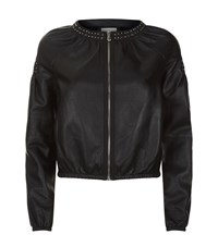 Pinko Studded Leather Bomber Jacket Female Black