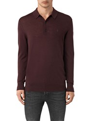 Allsaints Mode Merino Long Sleeved Polo Top Damson Red
