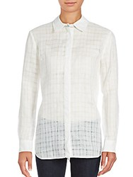 Lafayette 148 New York Brody Checked Button Down Blouse White