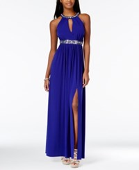 Amy Byer Bcx Juniors' Embellished Cutout Gown With Side Slit