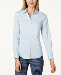 Charter Club Petite Long Sleeve Button Down Shirt Only At Macy's Blue Allure