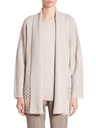 Lafayette 148 New York Eyelet Detail Cardigan Luxor Metallic