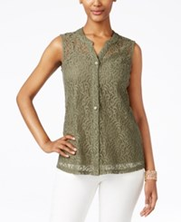 Styleandco. Style And Co. Petite Lace Button Front Blouse Only At Macy's Olive Sprig