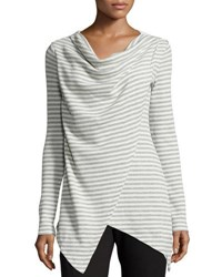 Marc New York Stripe Print Asymmetric Draped Tunic Ivry Lt Gr