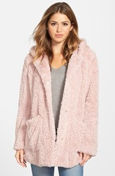 Women's Kenneth Cole New York 'Teddy Bear' Faux Fur Hooded Coat Carnation