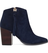 Carvela Smashing Zipped Suede Ankle Boots Navy