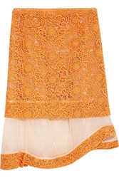 Michael Van Der Ham Layered Crochet And Organza Skirt Orange