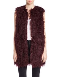 French Connection Faux Fur Vest Biker Berry