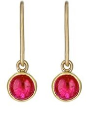 Finn Women's Ruby Cabochon Drop Earrings Colorless