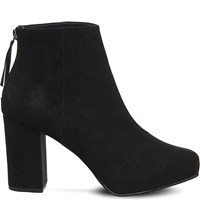 Office Light Bulb Suede Platform Boots Black