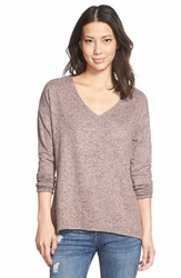 Petite Women's Gibson 'Yummy Fleece' High Low V Neck Pullover Pink
