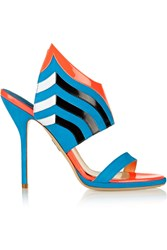 Paul Andrew Nya Suede And Patent Leather Sandals Blue