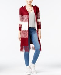 Almost Famous Juniors' Open Front Cardigan With Fringe Trim Wine Combo