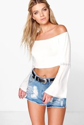 Boohoo Crochet Sleeve Off The Shoulder Crop Cream