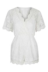 Lace Layer Playsuit By Glamorous Petites Cream