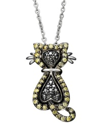 Macy's Sterling Silver Necklace Yellow Diamond 1 3 Ct. T.W. And Black Diamond Accent Cat Pendant