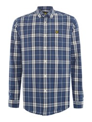 Lyle And Scott Long Sleeve Check Shirt Slate Blue