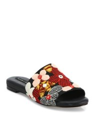 Alice Olivia Ramona Floral Embroidered Raffia Slides Multi