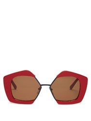 Marni Edge Hexagonal Frame Sunglasses Red