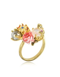 Les Nereides Eclatante Discretion Little Snake Rose And Stars Ring Gold
