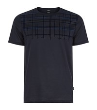 Boss Tessler Flock T Shirt Male Navy
