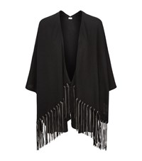 Armani Collezioni Tassel Hem Cape Shawl Female Black