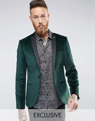 Noose And Monkey Super Skinny Blazer In Velvet With Contrast Collar Bottle Green