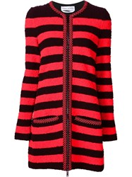 Sonia Rykiel Striped Zip Cardigan Red