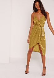 Missguided Silky Strappy Wrap Over Midi Dress Yellow Chartreuse
