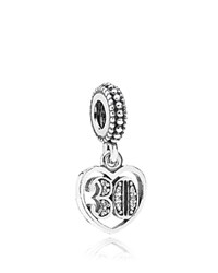 Pandora Design Pandora Dangle Charm Sterling Silver And Cubic Zirconia 30 Years Of Love Moments Collection Silver Clear
